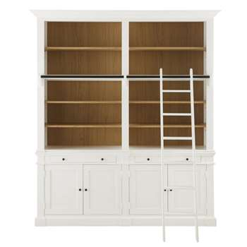 VERSAILLES - 4-Door 2-Drawer Bookcase with White Ladder (H230 x W201 x D41cm)