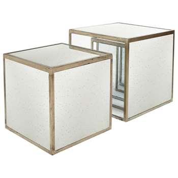 Versailles Cubes, Set of Two - Antiqued Mirror (43 x 43cm)