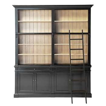 VERSAILLES Solid wood bookcase with ladder in black (230 x 201cm)