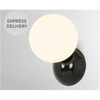 Vetro Bathroom Wall Light, Black (H17 x W12 x D14cm)