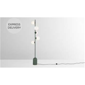 Vetro Floor Lamp, Peacock Green and Opal Glass (H160 x W15 x D10.8cm)