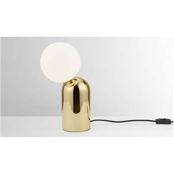 Vetro Table Lamp, Brass & Opal Glass (H33.2 x W15 x D20cm)