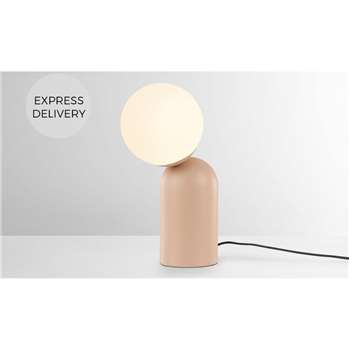 Vetro Table Lamp, Dusty Nude Pink and Opal Glass (H34 x W11 x D11cm)