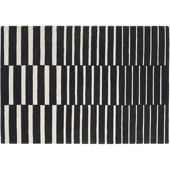 Vico Large Stripe Wool Rug, Black and White (160 x 230cm)