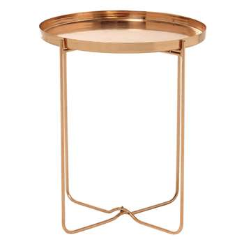VICTOIRE copper finish metal side table (56 x 46cm)