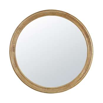 VICTOR - Round Rubber Wood Mirror with Mouldings (Diameter 90cm)