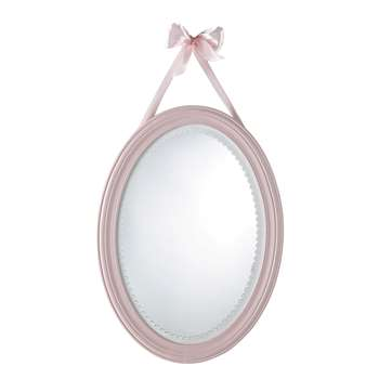 VICTORINE wooden oval mirror in pink H 55cm