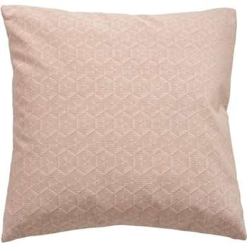 Vika Geometric Velvet Cushion, Soft Pink (45 x 45cm)