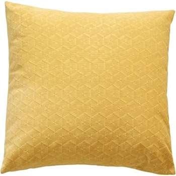 Vika Geometric Velvet Cushion, Yellow (45 x 45cm)