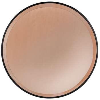 VILDA - Round Amber Glass Mirror (H71.5 x W71.5 x D1cm)