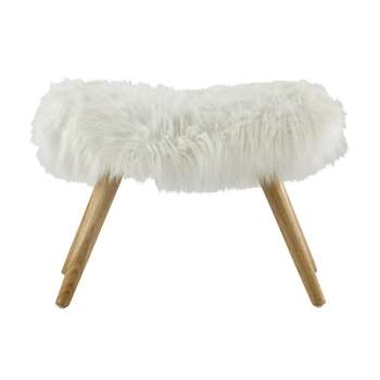 VILMA wood and white faux fur stool (40 x 55cm)