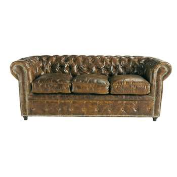 VINTAGE 3 seater Chesterfield leather button sofa bed in brown