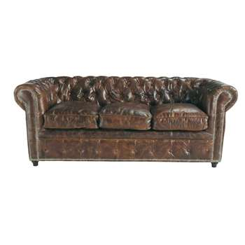 VINTAGE 3 seater Chesterfield leather button sofa in brown