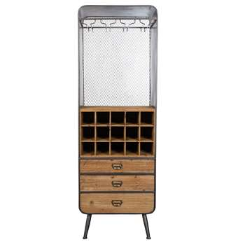 Vintage French Style Wine Cabinet in Solid Fir Wood