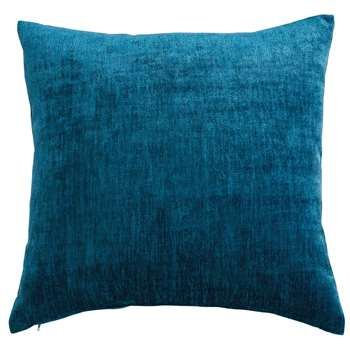 VINTAGE VELVET teal blue fabric cushion (45 x 54cm)
