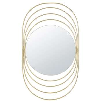VINTY Golden Metal Rings Mirror (H117 x W69 x D2cm)