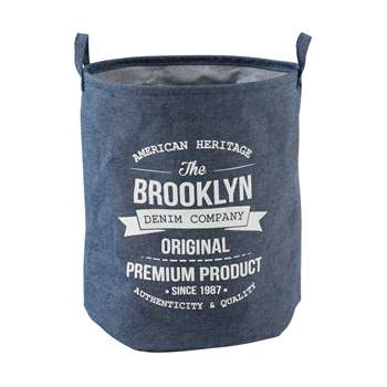VINYL Denim Effect Printed Fabric Storage Bag (45 x 38cm)
