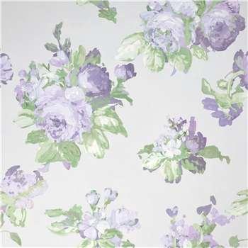 Violetta Silver White Wallpaper