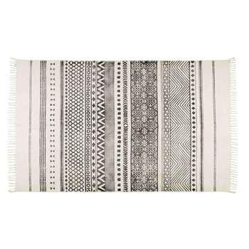 VISCA ecru cotton rug with black motifs (H160 x W230cm)