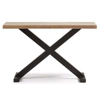 Vita Console Table in Black & Acacia (H80 x W130 x D35cm)