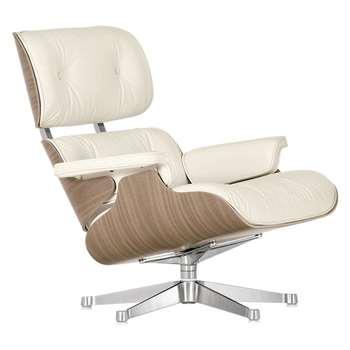 Vitra Eames Lounge Armchair, White/ Walnut Shell (H84 x W84 x D85cm)