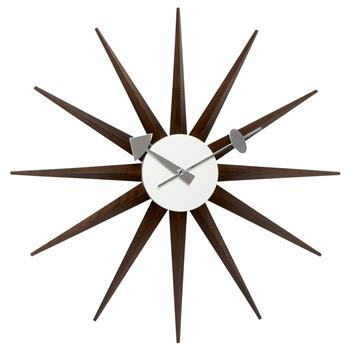 Vitra Sunburst Wall Clock - Walnut (Diameter 47cm)