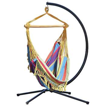 Vivere Brazil Hammock Chair with Stand - Tropical (216 x 140cm)
