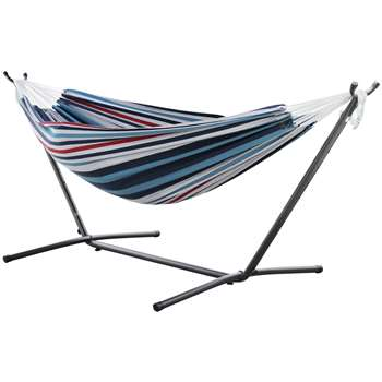 Vivere Double Cotton Hammock with Stand - Denim (H105 x W250 x D110cm)