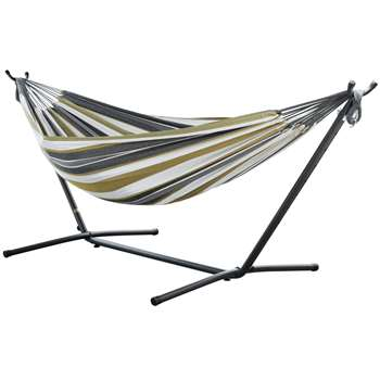 Vivere Double Cotton Hammock with Stand - Desert Moon (H105 x W250 x D110cm)