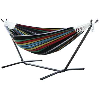Vivere Double Cotton Hammock with Stand - Rio Night (H105 x W250 x D110cm)