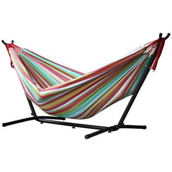 Vivere Double Cotton Hammock with Stand - Salsa (H105 x W250 x D110cm)