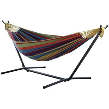 Vivere Double Cotton Hammock with Stand - Tropical (H105 x W250 x D110cm)