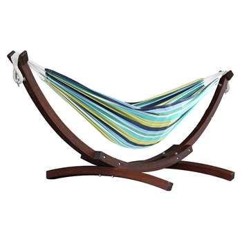 Vivere Double Cotton Hammock With Wooden Stand - Cayo Reef (H105 x W260 x D120cm)