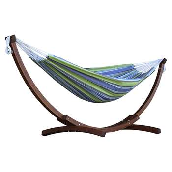 Vivere Double Cotton Hammock With Wooden Stand - Oasis (H105 x W260 x D120cm)