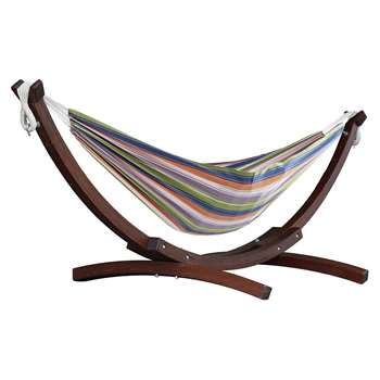 Vivere Double Cotton Hammock With Wooden Stand - Retro (H105 x W260 x D120cm)