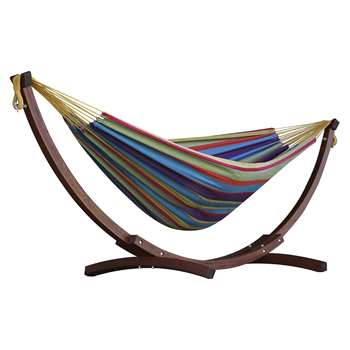 Vivere Double Cotton Hammock With Wooden Stand - Tropical (H105 x W260 x D120cm)