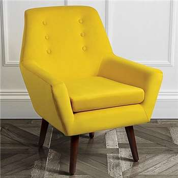Vivienne English Mustard Retro Armchair with Walnut Legs (H90 x W72 x D62cm)