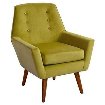 Vivienne Lime Retro Armchair with Walnut Legs (90 x 72cm)