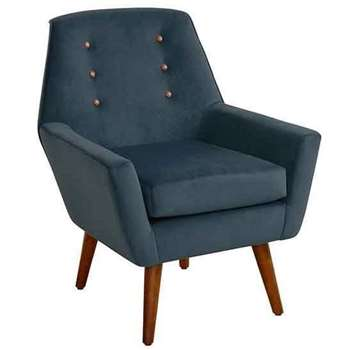 Vivienne Wedgewood Retro Armchair with Walnut Legs (90 x 72cm)