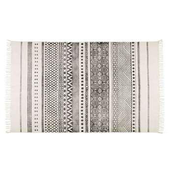 VIZCA ecru cotton rug with black motifs (140 x 200cm)