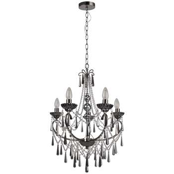 Volta 5 Light Chandelier Smoked Glass (H102 x W48 x D48cm)