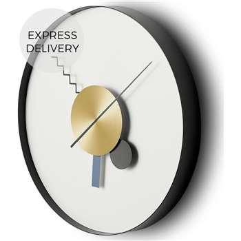 Von 30cm Cased Clock, Black & Brass (Diameter 30cm)