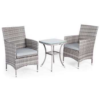 VonHaus 3 Piece Rattan Bistro Set - Grey