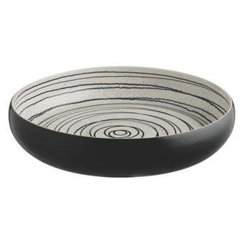Vortice Black and white patterned ceramic bowl