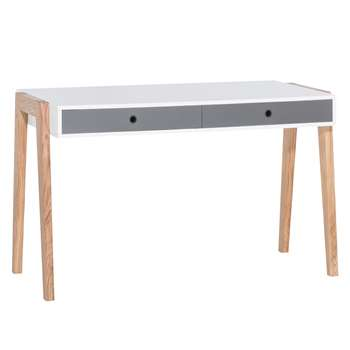 Vox Concept Computer Desk in White & Grey (76 x 128cm)