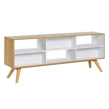 Vox Nature Two Sided Low Shelving Unit in White & Oak Effect (H72 x W179.5 x D40cm)