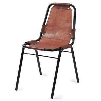 WAGRAM Leather and metal industrial chair in brown (90 x 45cm)