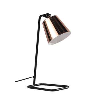 WALTER adjustable metal and copper effect desk lamp, black (40 x 17cm)