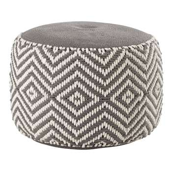 WARM Grey and White Cotton Pouffe (H35 x W50 x D50cm)