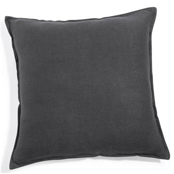 Washed linen cushion in charcoal grey 60 x 60cm